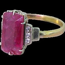 Mid Century 3.07 Carat Rectangular Cut Ruby Solitaire Ring, circa 1955