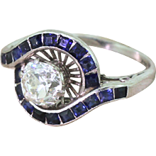 Mid Century 1.43 Carat Old Cut Diamond & Calibré Cut Sapphire Ring, circa 1960