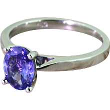 1.25 Carat Oval Cut Tanzanite Solitaire Ring, 18k White Gold