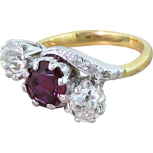 Art Deco Natural Ruby & Old Cut Diamond Trilogy Crossover Ring, circa 1940