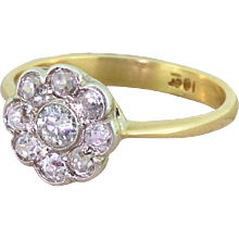 Edwardian 1.00 Carat Old Cut Diamond Cluster Ring, circa 1910
