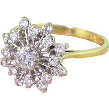 "Mid Century 0.48 Carat Brilliant Cut Diamond ""Starburst"" Ring, circa 1965"