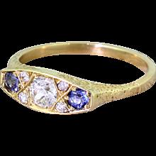 Art Deco 0.50 Carat Diamond & Sapphire Trilogy Ring, circa 1920