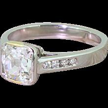1.49 Carat Square Shaped Old Cut Diamond Engagement Ring, Platinum