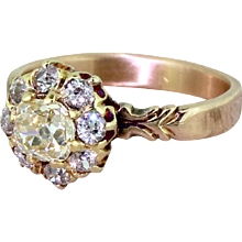 Victorian 1.60 Carat Old Cut Diamond Cluster Ring, circa 1870