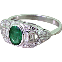 Art Deco 0.70 Carat Oval Cut Emerald & Diamond Ring, circa 1940