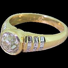 Mid Century 1.50 Carat Old Cut Diamond Engagement Ring, circa 1960