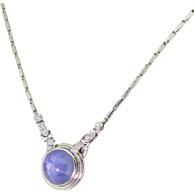 Art Deco 8.00 Carat Cabochon Sapphire & Diamond Necklace, circa 1940