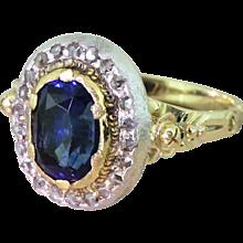 Edwardian 2.96 Carat Natural Ceylon Sapphire & Diamond Ring, circa 1910
