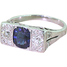 Art Deco Natural Sapphire & Old Cut Diamond Trilogy Ring, circa 1940