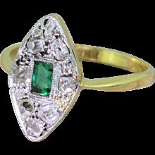 Art Deco Emerald & Rose Cut Diamond Navette Ring, circa 1920