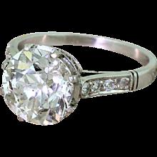 Mid Century 3.14 Carat Old Cut Diamond Engagement Ring, circa 1965