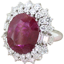 Late 20th Century 9.47 Carat Natural Ruby & Diamond Ring, circa 1970