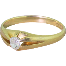 Victorian 0.40 Carat Old Oval Cut Diamond Solitaire Ring, circa 1890