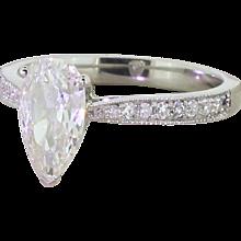 1.14 Carat Pear-Shaped Old Cut Diamond Engagement Ring, Platinum