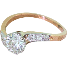 "Edwardian 1.05 Carat Old Cut Diamond ""Curve"" Solitaire Ring, circa 1910"