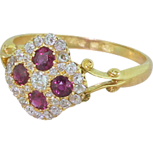 Edwardian Spinel & Old Cut Diamond Cluster Ring, circa 1905