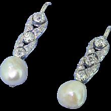 Art Deco Natural Pearl & Old Cut Diamond Earrings, circa 1920