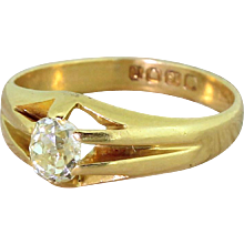 Early 20th Century 0.50 Carat Old Cut Diamond Solitaire Ring, dated 1904