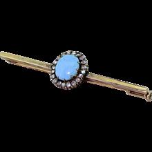 Victorian Turquoise & Rose Cut Diamond Bar Brooch, circa 1890