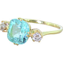 Victorian 2.90 Carat Paraiba Tourmaline & Old Cut Diamond Trilogy Ring, 18k Gold