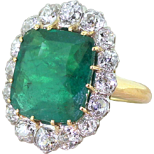 Art Deco 5.08 Carat Colombian Emerald & Old Cut Diamond Cluster Ring, circa 1935