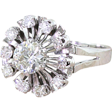 "Retro 1.25 Carat Old European Cut Diamond ""Sunburst"" Ring, French, circa 1950"