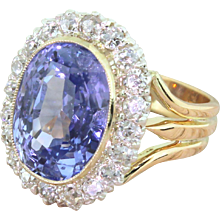 Art Deco 9.14 Carat Natural Ceylon Sapphire & Diamond Ring, circa 1925