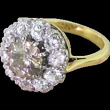 Mid Century 3.64 Carat Fancy Cognac Old Cut Diamond Cluster Ring, circa 1945