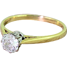 Art Deco 0.55 Carat Old Cut Diamond Solitaire Engagement Ring, circa 1940