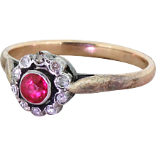 Victorian Ruby & Old Cut Diamond Target Cluster Ring, circa 1880