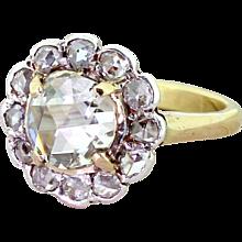 Victorian 1.64 Carat Rose Cut Diamond Cluster Ring, circa 1860