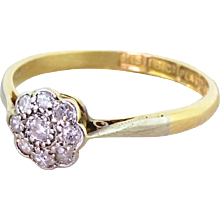 Art Deco 0.20 Carat Old Cut Diamond Daisy Cluster Ring, dated 1925