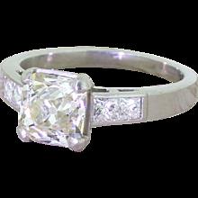 1.69 Carat Square Old Cut Diamond Engagement Ring, Platinum