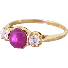 Victorian Star Ruby & Old Cut Diamond Trilogy Ring, circa 1900