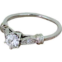 Retro 0.55 Carat Old European Cut Diamond Engagement Ring, circa 1945