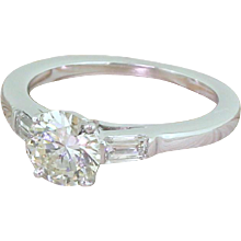 Mid Century 0.95 Carat Transitional Cut Diamond Engagement Ring, French, circa 1955