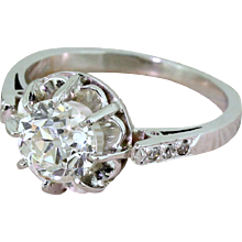 Art Deco 1.30 Carat Old Cut Diamond Engagement Ring, French, circa 1920