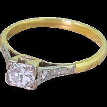 Mid Century 0.30 Carat Transitional Cut Diamond Engagement Ring, circa 1960