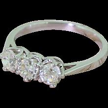 Art Deco 1.30 Carat Old Cut Diamond Trilogy Ring, circa 1940