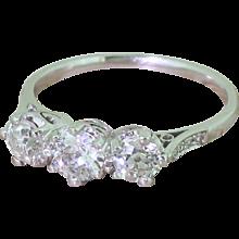 Art Deco 0.94 Carat Old Cut Diamond Trilogy Ring, circa 1940