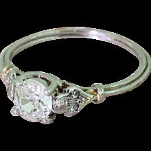 Mid Century 0.50 Carat Old Cut Diamond Engagement Ring, circa 1960
