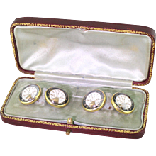 """Edwardian Essex Crystal """"Elks Lodge"""" Cufflinks, Boxed, circa 1910"""