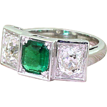 Retro 1.50 Carat Emerald & 2.50 Carat Old Cut Diamond Trilogy Ring, French, circa 1950
