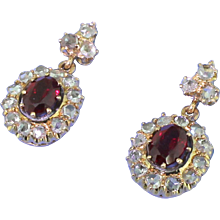 Victorian Ruby & Rose Cut Diamond Cluster Earrings, circa 1900