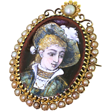 Early 20th Century Natural Pearl & Enamel Portrait Brooch, French, circa 1910