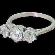 Art Deco 1.21 Carat Old Cut Diamond Trilogy Ring, circa 1930