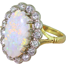 Mid Century 2.60 Carat Opal & Transitional Cut Diamond Cluster Ring, circa 1960