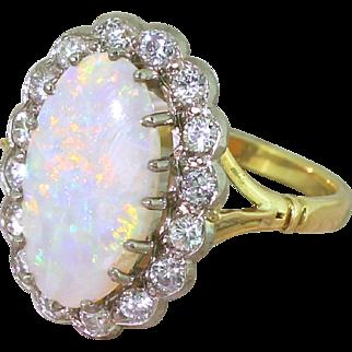 Mid Century 2.60 Carat Opal & Transitional Cut Diamond Cluster Ring, circa 1960