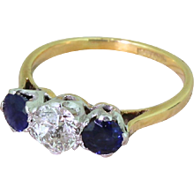 Art Deco 0.75 Carat Old Cut Diamond & Sapphire Trilogy Ring, circa 1935